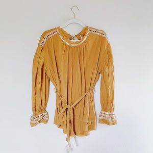 Free People Mustard Embroidered Peasant Blouse S